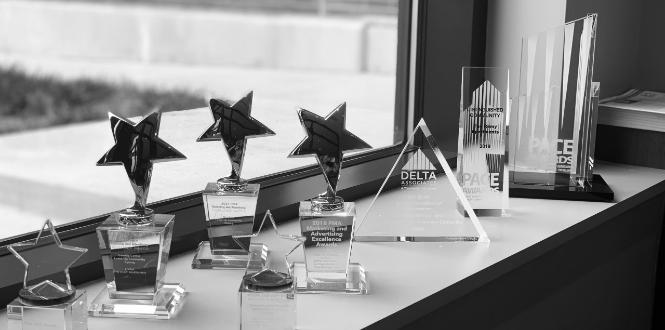 Awards on a window sill
