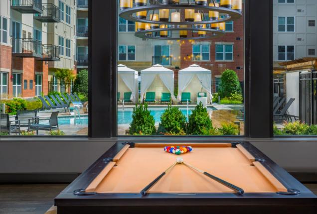 Billiards table overlooking the pool