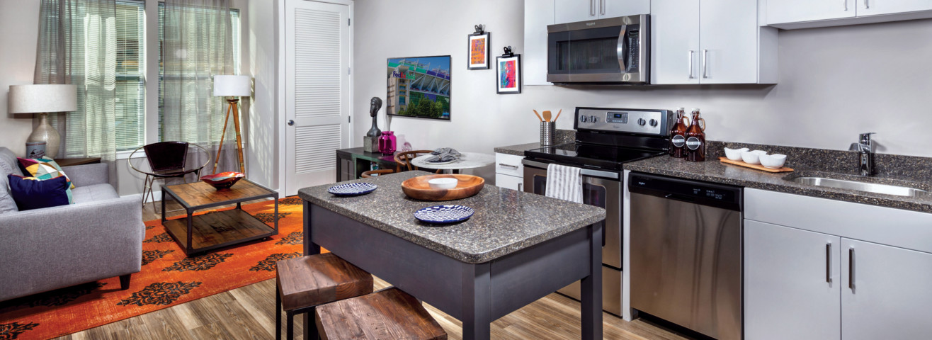 Remy kitchen with white cabinets and moveable island