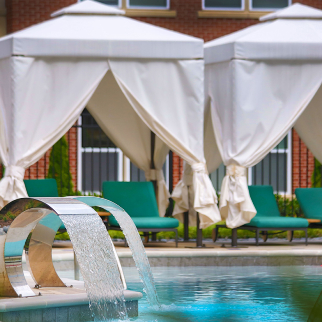 Remy pool and cabanas